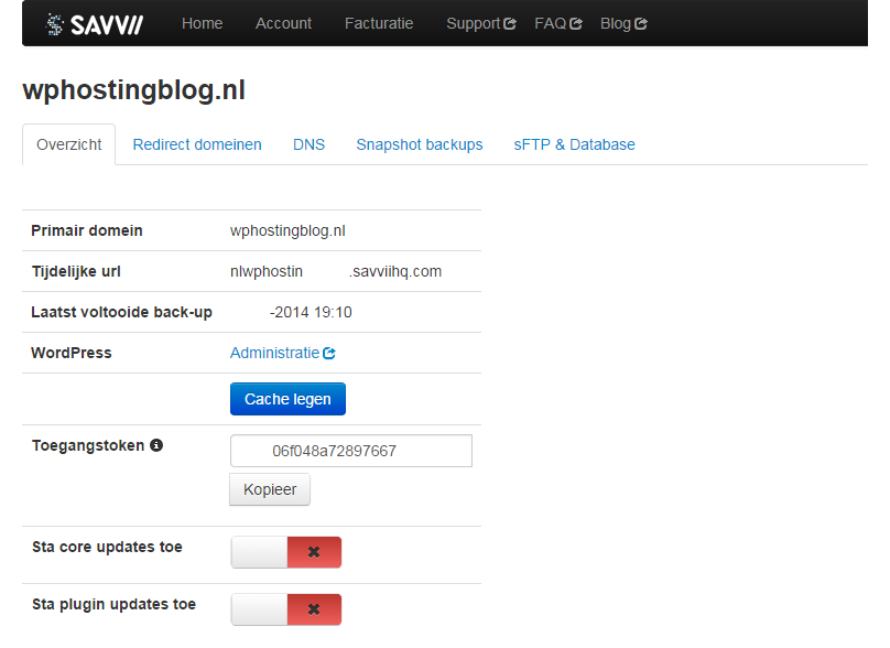 Savvii WordPress Hosting beheeromgeving websitebeheer