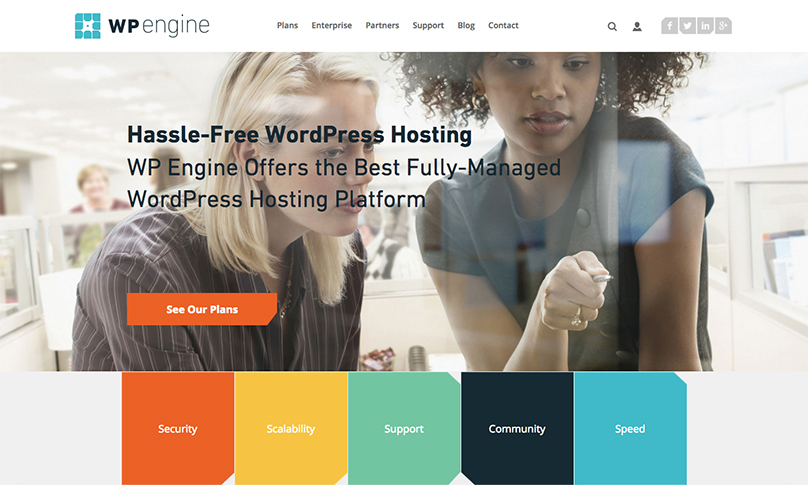 WP Engine Managed WordPress Hosting homepage