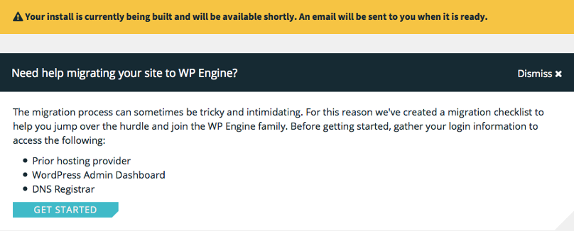 WP Engine hosting WordPress site wordt aangemaakt
