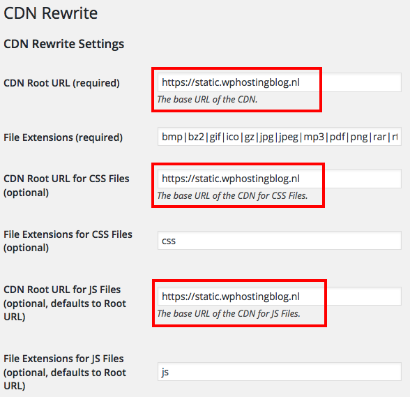 Afbeelding: WP CDN Rewrite WordPress-plugin settings